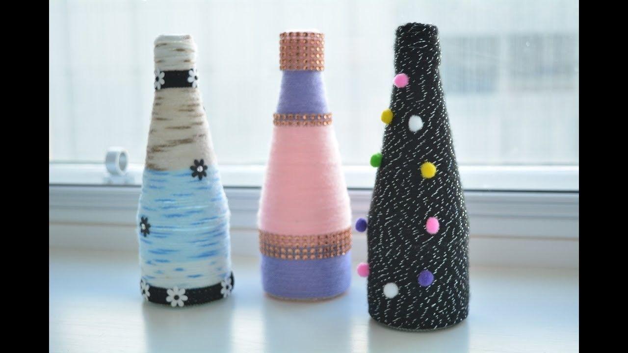 Glass Bottle Decoration Ideas Yarn Wrapped Bottle Craft  Yarn Wrapped Bottles Wrapped Bottles