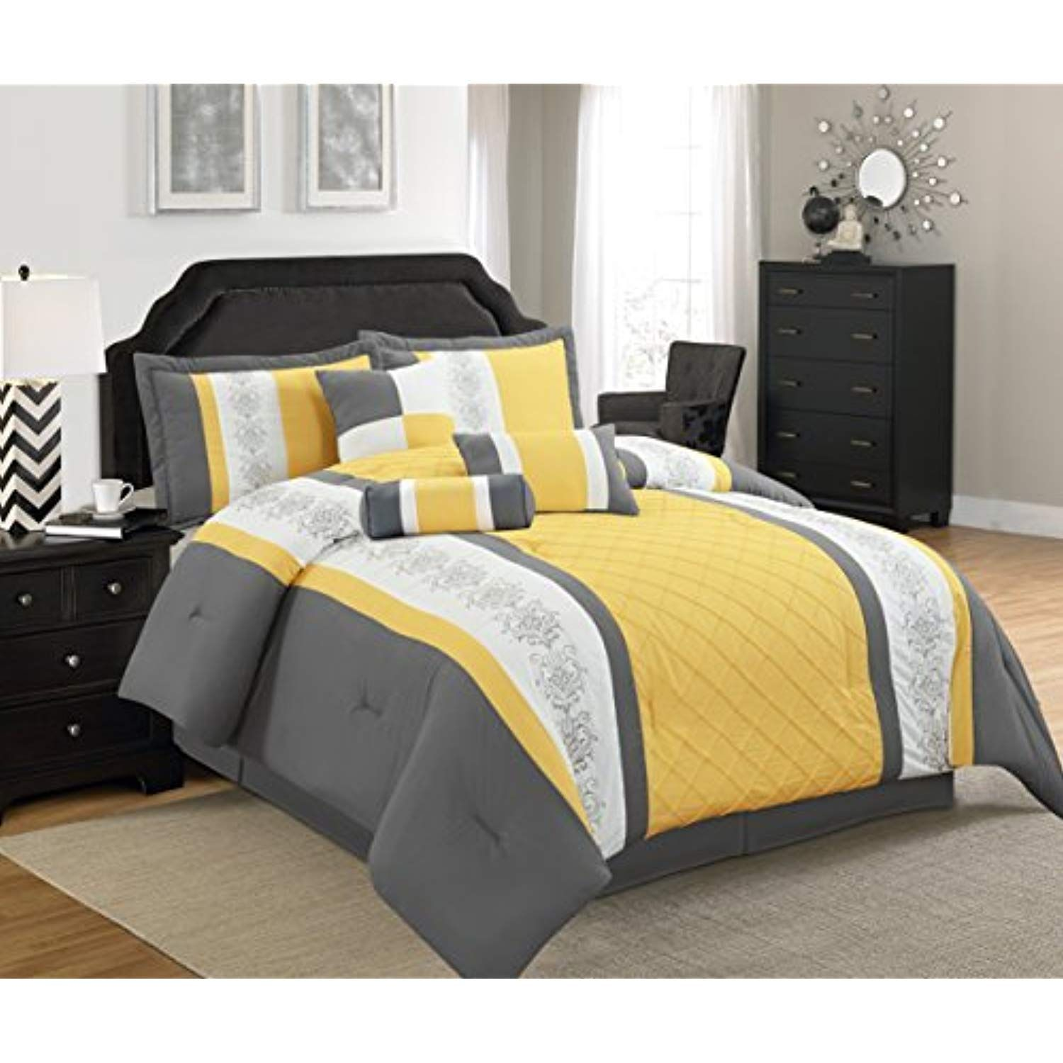Legacy Decor 7 Pc Grey Yellow And White Striped Comforter Set With Embroidered Design Cal King Size Want Addit Modern Bed Set Bedding Sets Comforter Sets