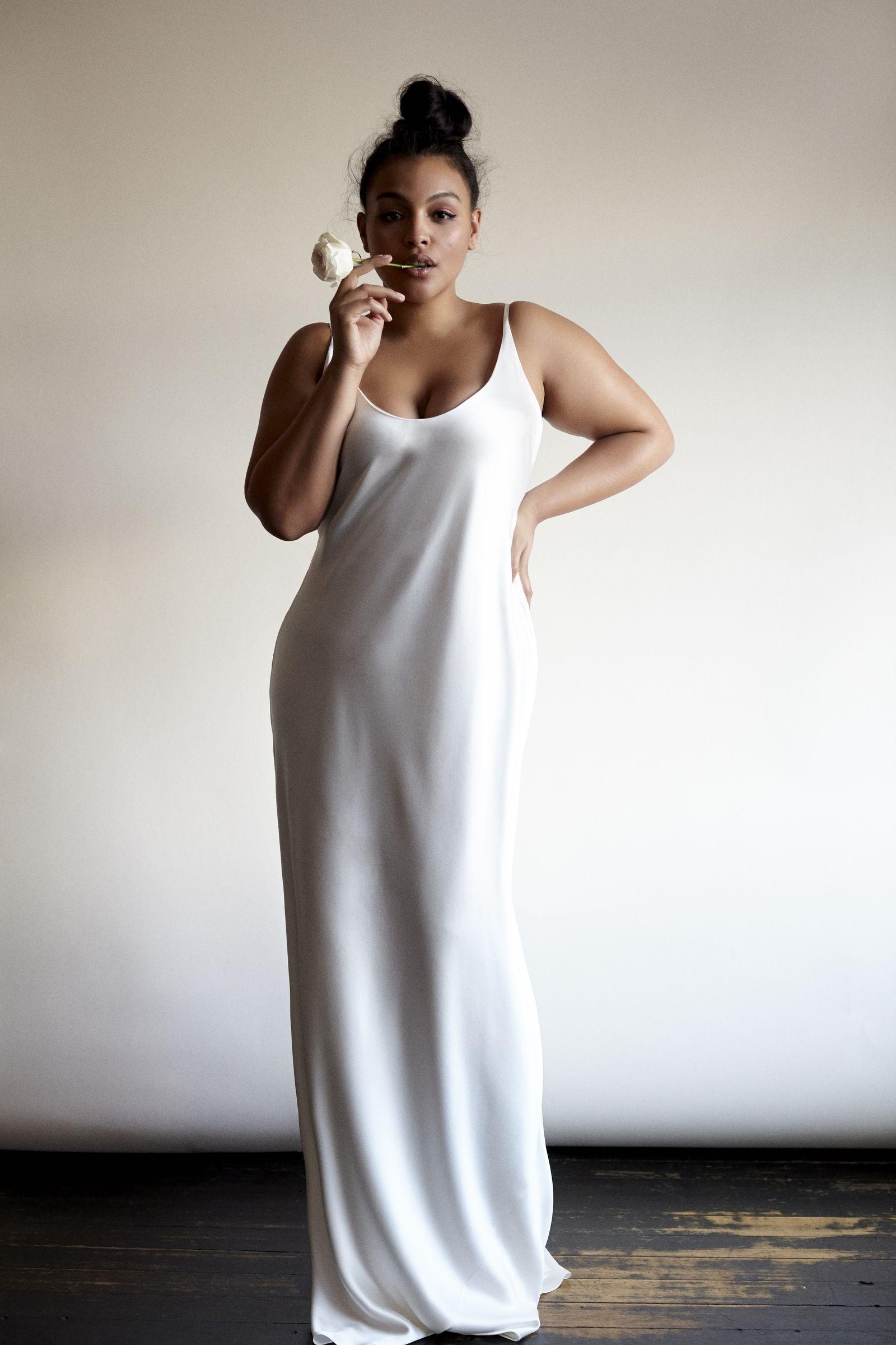 f3e992893bbb2 Lucinda silk plunge back silk plus-size wedding dress from Stone Fox Bride