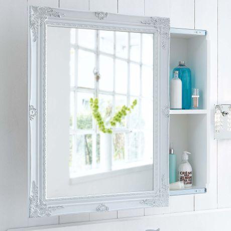 Spiegelschrank Schiebetur Zwei Innenfacher Romantik Look Mdf Spiegelschrank Badezimmer Spiegelschrank Shabby Chic Badezimmer