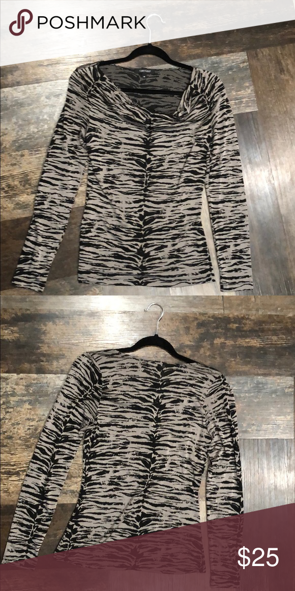 d1711a42f6725c Gray and Black Animal Print top Gray and black zebra stripe long sleeve top Karen  Kane Tops Blouses