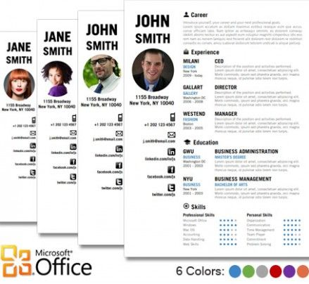 Download professional CV or resume templates for Microsoft word - portfolio word template