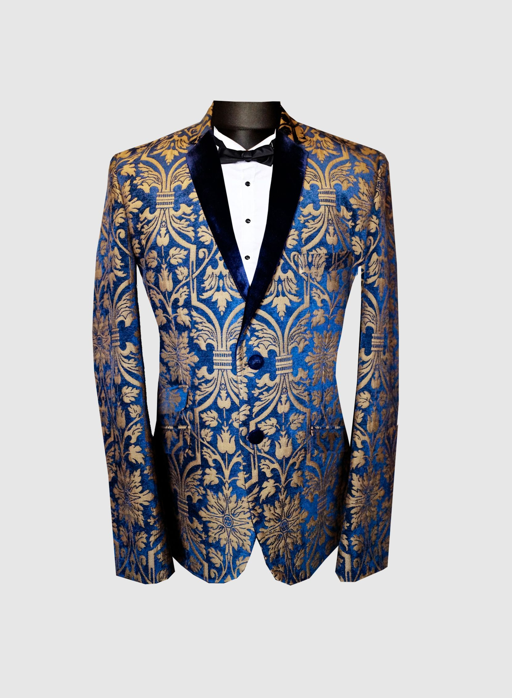 Suits & Blazers Blazers 2019 Newest Arrival Gold Men Blazer Jacket Printed Casual Long Sleeve Notched Collar Men Coat For Party Groom Holiday