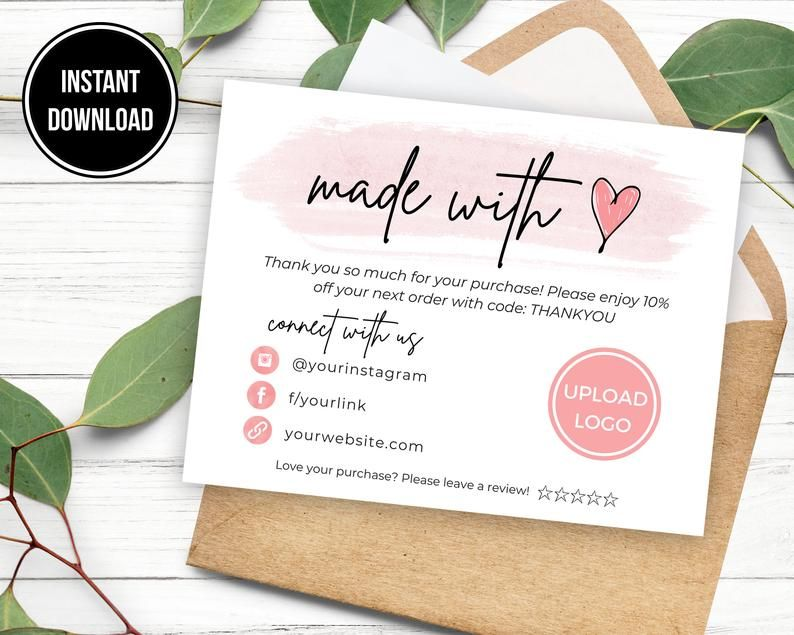 Made With Love Thank You Card Template Etsy Thank You For Etsy In 2021 Thank You Card Template Business Thank You Cards Purchase Card
