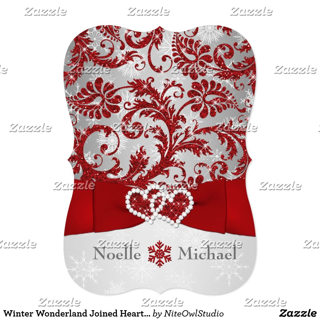 Winter Wonderland Joined Hearts Wedding Invite Red Set the tone for ...