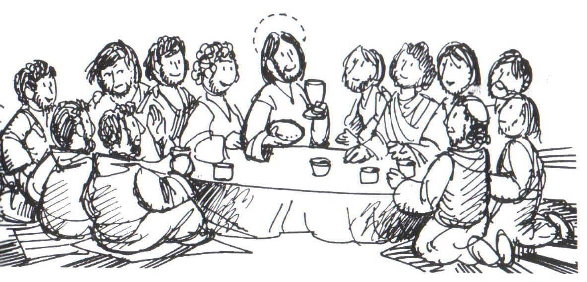 dibujo para colorear de la ultima cena de jesus con los