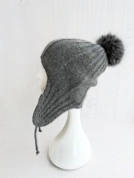 f86e923af Knit aviator hat covers ears - Beanie with ear flaps women - Wool ...