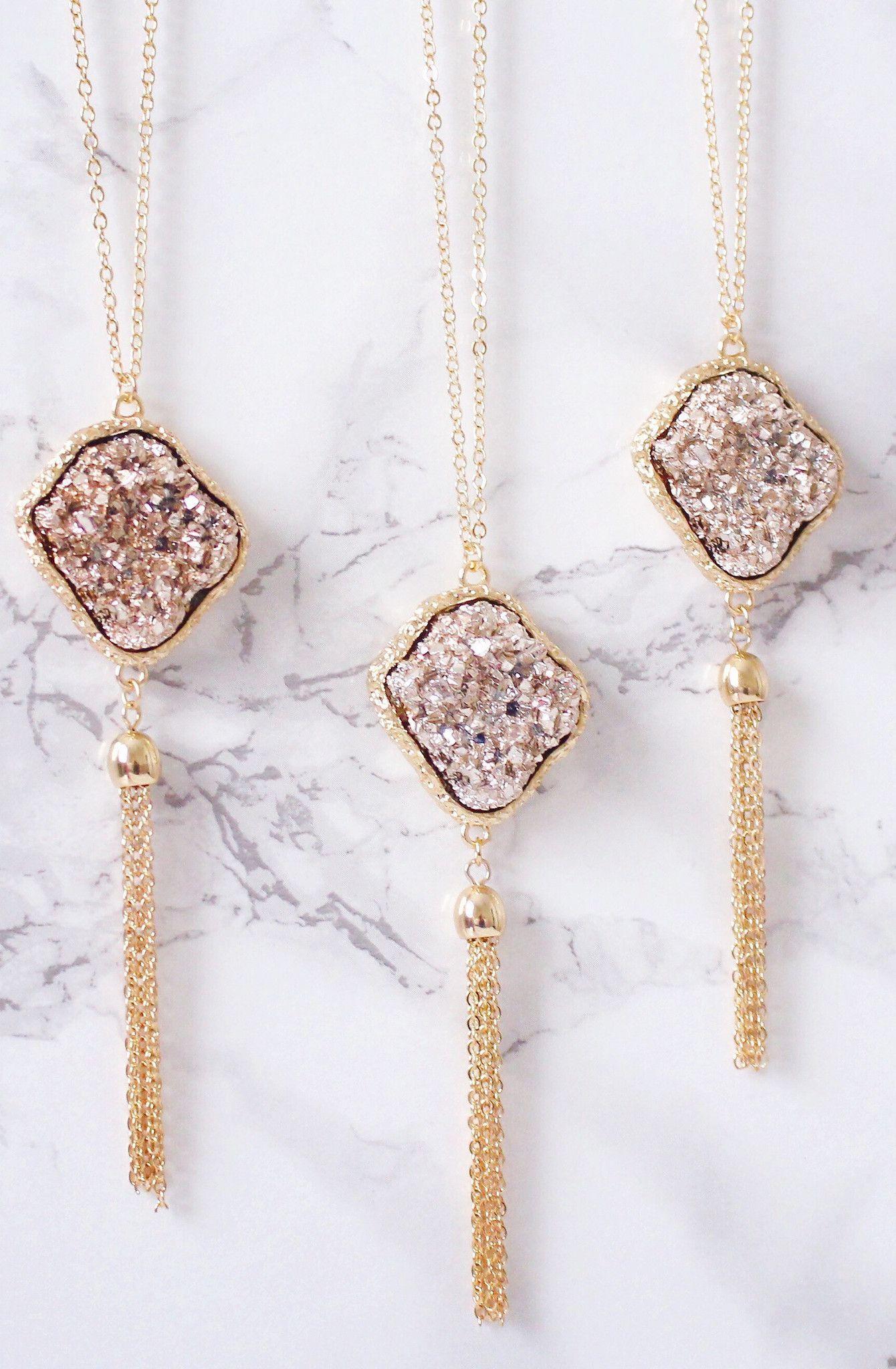 Rose gold druzy tassel necklace finest jewelry pinterest