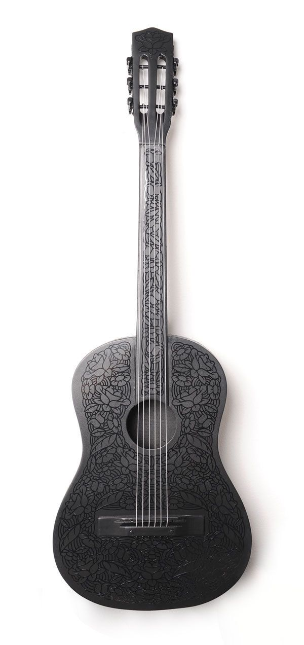 Custom Guitar In A Gloomy Emily The Strange Style Guitar Guitar Design Acoustic Guitar