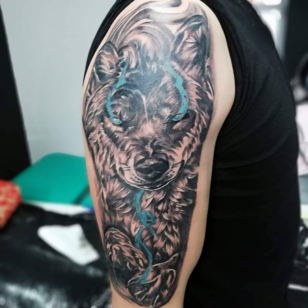 Tattoo Tatuaż Wilk Wolf Blue Blackandwhite Tusz Hobby