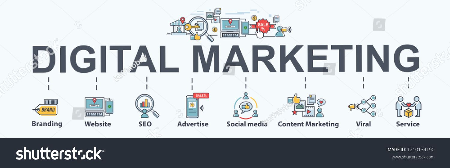 digital online marketing banner web icon for business and