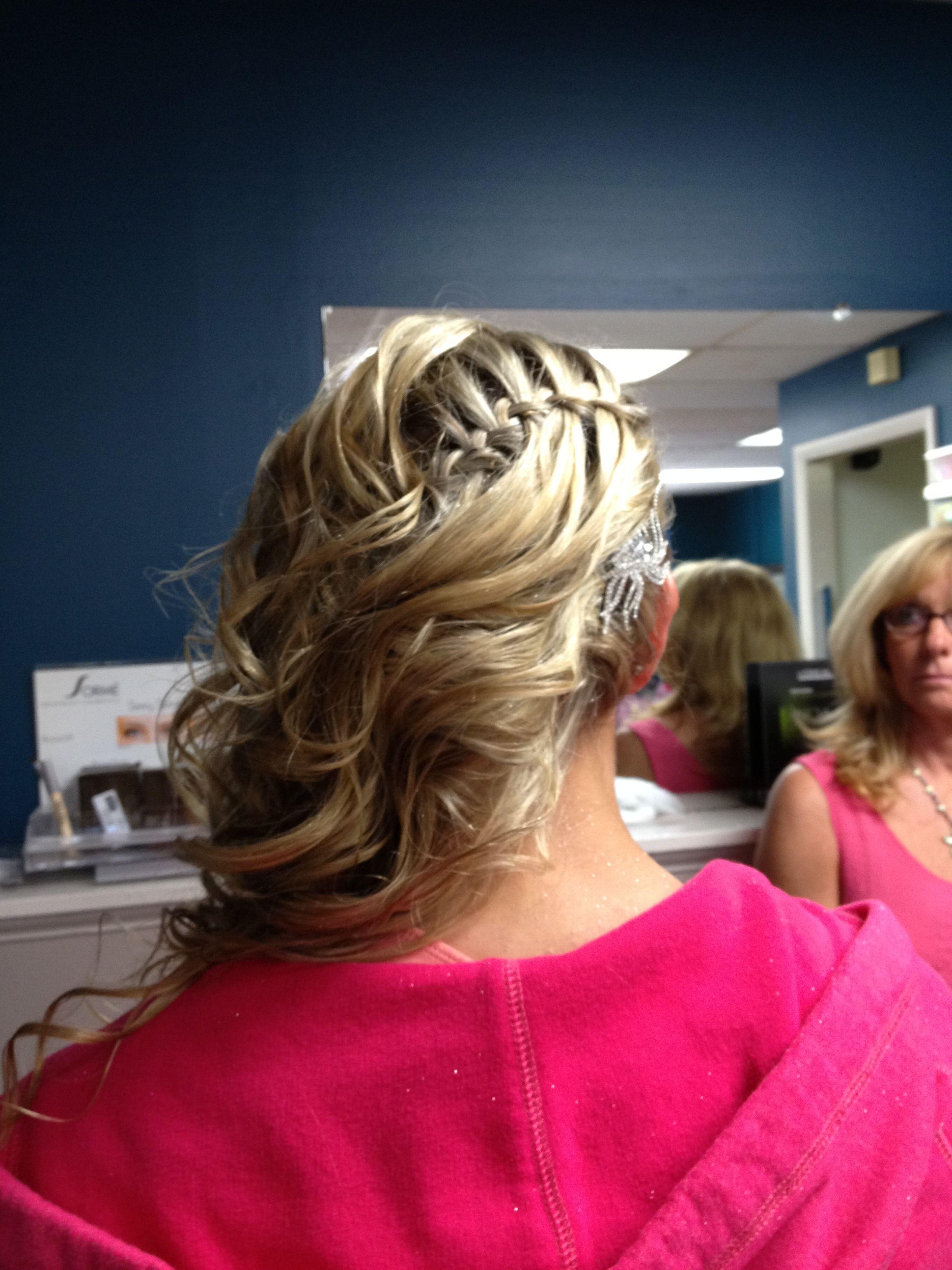 Waterfall braid side swept hair for prom prom hair pinterest