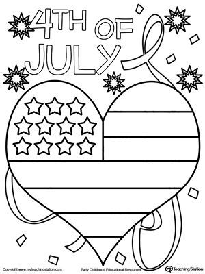4th of july heart flag coloring page pinterest worksheets flags