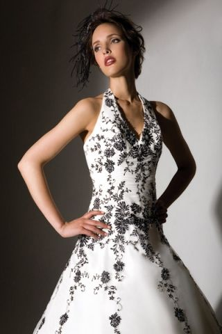 Halter Neckline For A Line Wedding Dress Ivory With Black Embroidery