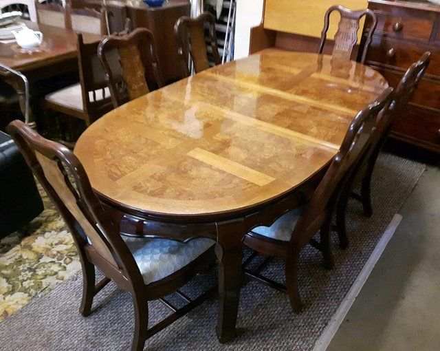 Stunning Walnut Inlay Dining Set And Six Chairs For Sale In Dewsbury West Yorkshire