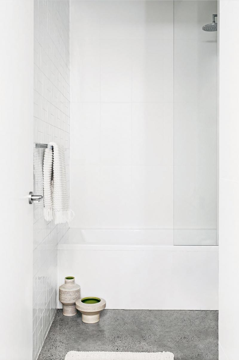 White Bathroom Small Concrete Aug15 Shower Over Bath Minimalist