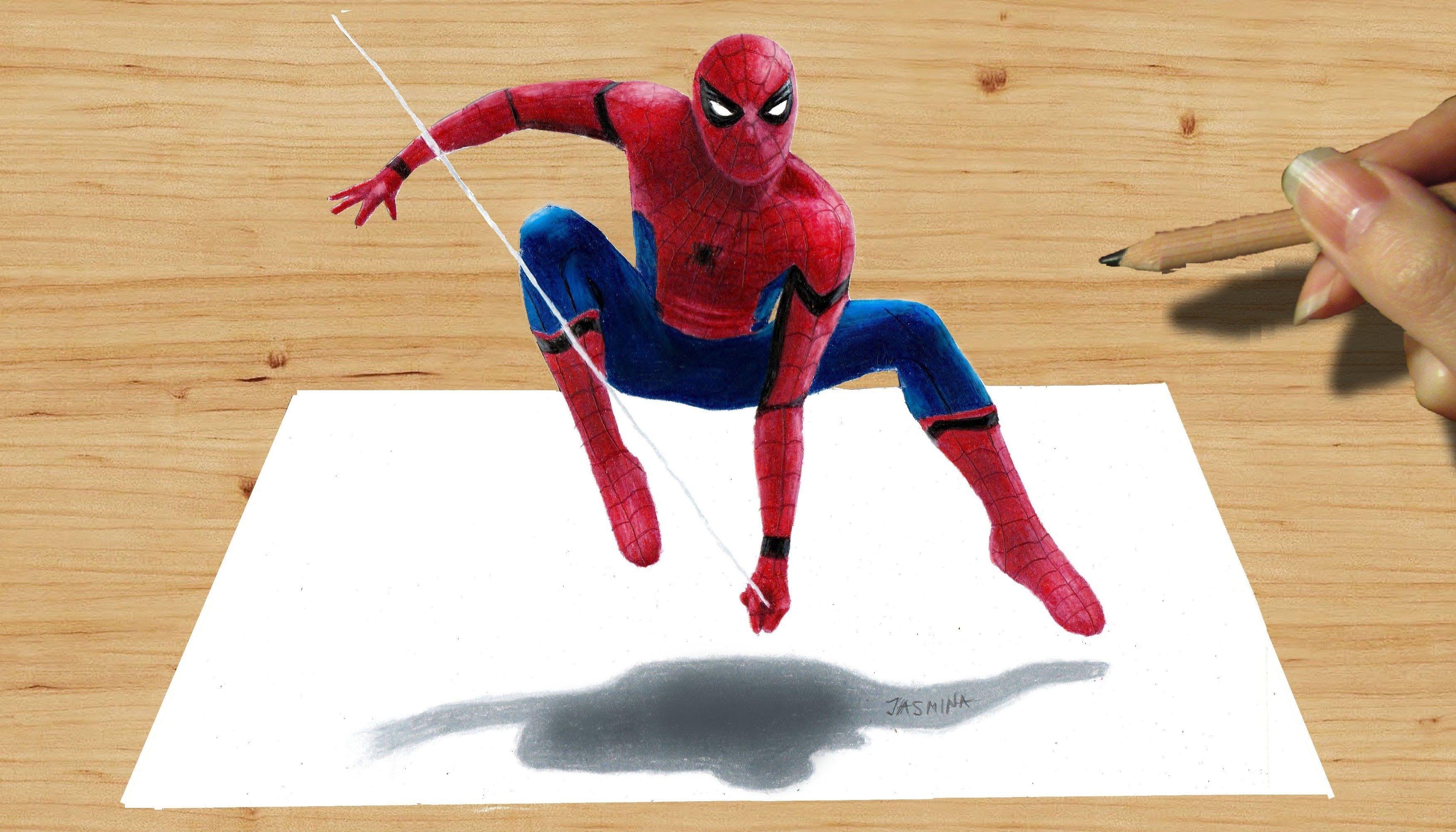3d Pencil Drawing Spider Man New Costume In Captain America Civil War Spiderman Drawing 3d Pencil Drawings 3d Drawings