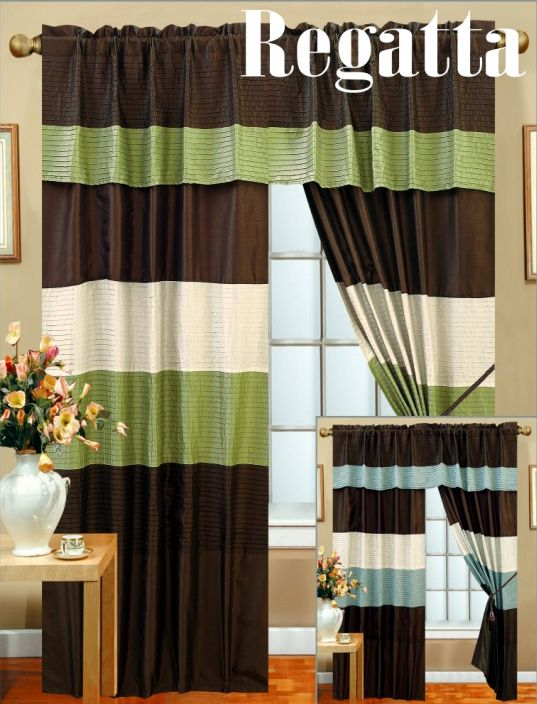 New Window Curtains Panel Set Blue Green Brown Veneto B