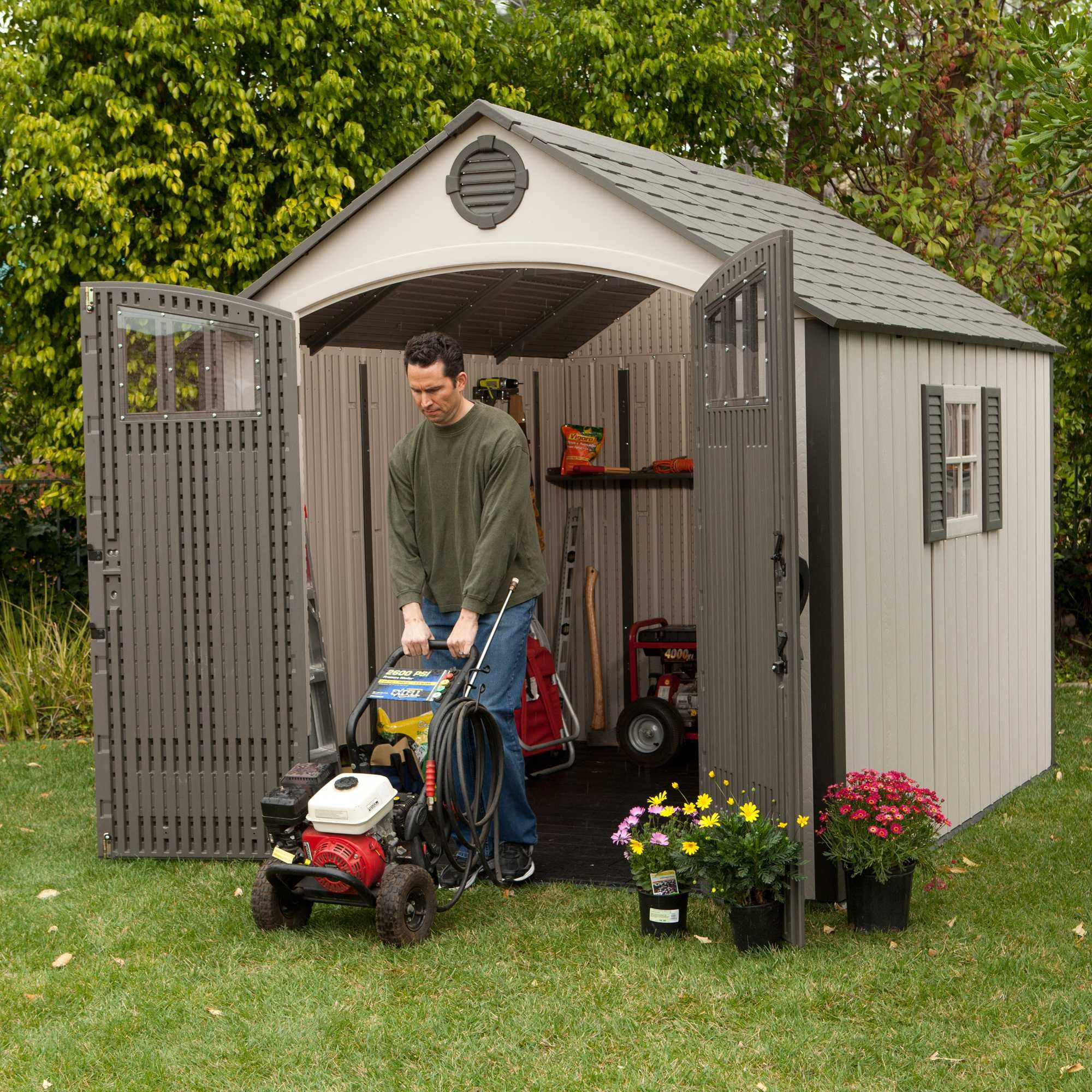 60077 71 3 Square Ft 507 65 Cubic Ft The Lifetime 8 X 10 Storage Shed Features 1 Shatter Proof Polycar Shed Lifetime Storage Sheds Building A Shed