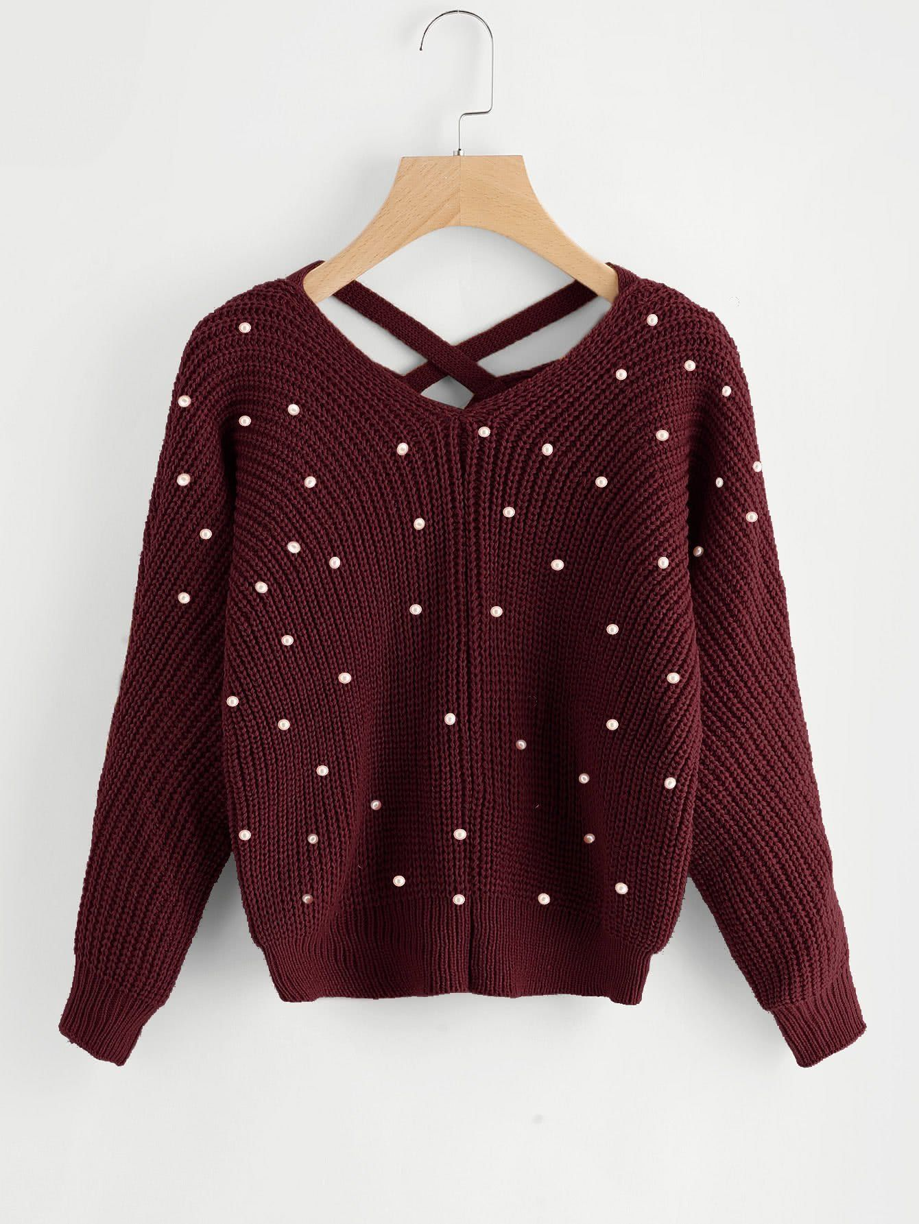 39d4f083e0ce4 Pearl detail knitted sweater in 2019