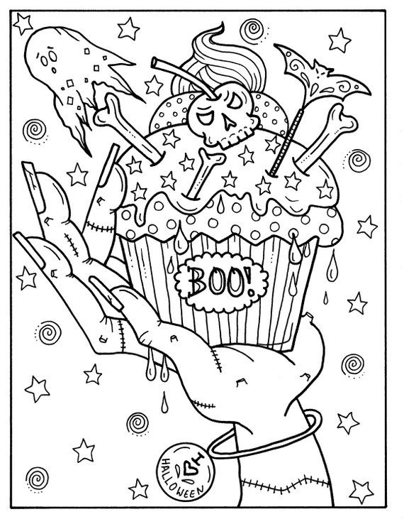 5 Pages Halloween Cupcakes to Color Instant Download, digital art, digi stamp, adult coloring, color pages, spooky, witch, coloring book