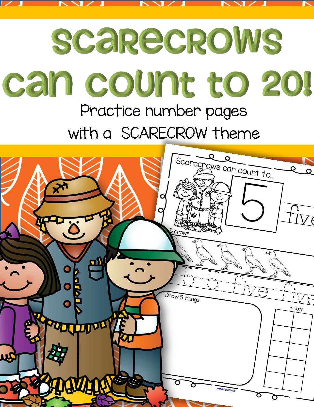 Scarecrows Fall Number Practice Printables - Recognition Tracing ...