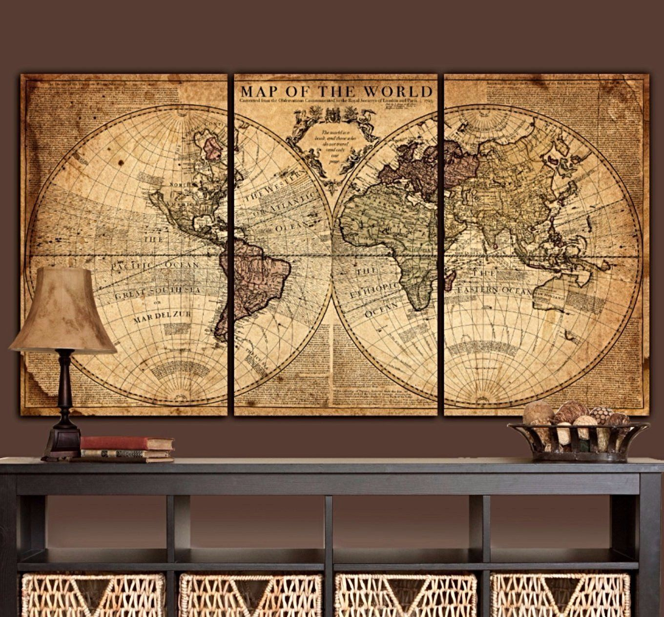 Globe Tan Map World Map Canvas | Canvases, Wrapped canvas and Products