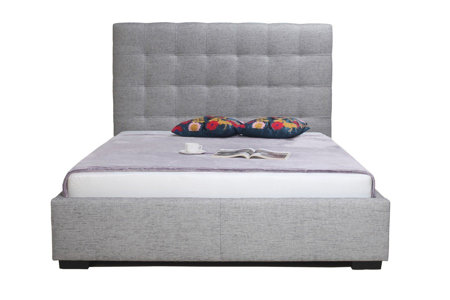 Belle storage bed king light grey fabric products