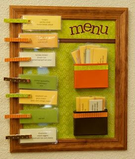 Menu board - don't need this for the menu idea, but love it as a way to make a chore chart.  Each kid gets a side, when they do the chore, it goes back into their pocket.