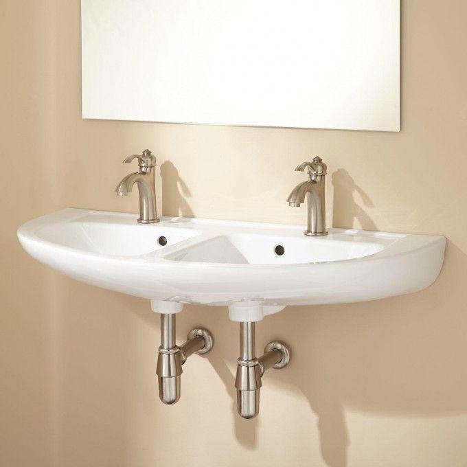 Cassin Doublebowl Porcelain Wallmount Bathroom Sink  Wall Classy Small Bathroom Sinks Uk Inspiration