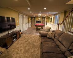 Long Narrow Game Room  Basement Design Ideas For Long Narrow Inspiration Basement Living Rooms Design Decorating Inspiration
