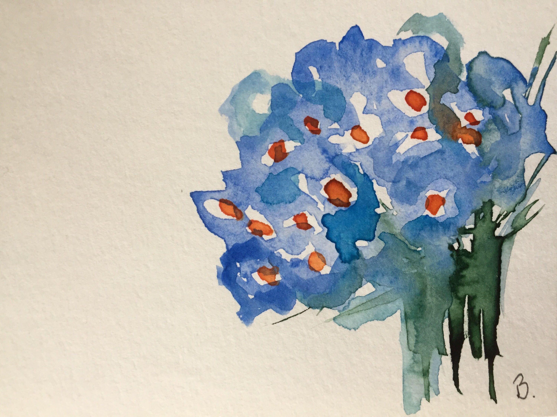 Original Aquarell Aquarellpostkarte Bild Kunst Blumenstrauss Blumen