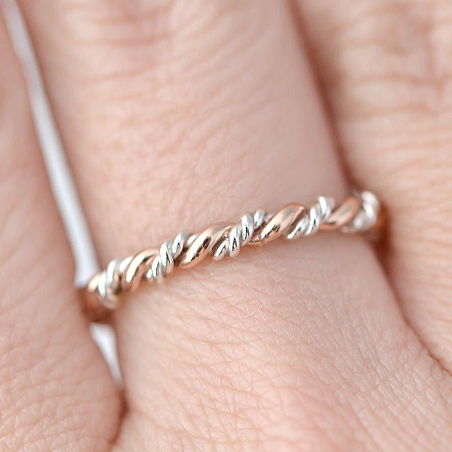 Braided Ring, Rose Gold Twist Ring, Stacking Ring, Gold Stack Ring ...