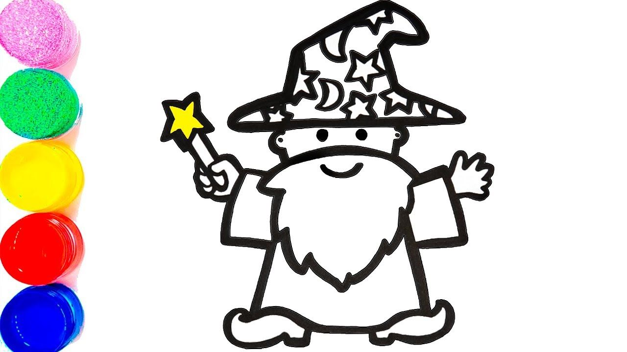 Glitter Wizard With Magic Wand Coloring Pages Learn Colors For