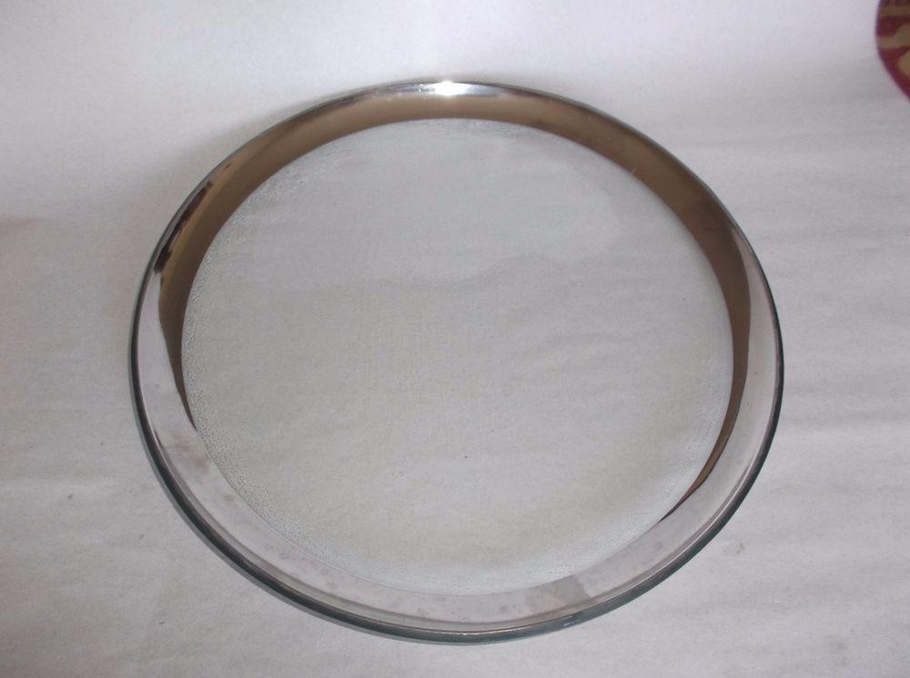 """Annieglass Roman Antique Platinum 12"""" Buffet Plate, signed, 1999, VGUC, #3 #Modern"""