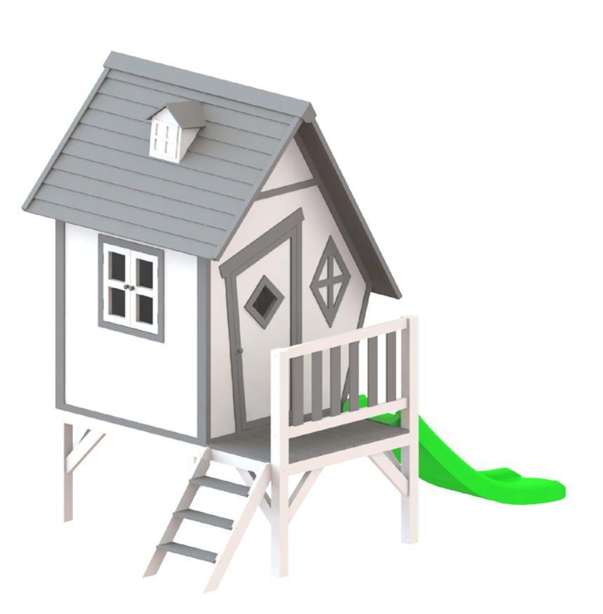 KinderSpielhaus Sunny Cabin XL Stelzenhaus Holz Rutsche Comicstil