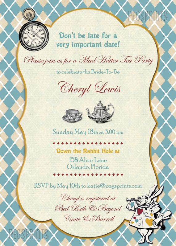 07e866f150c8 Mad Hatter Tea Party Invitation    Mad Hatter Bridal Shower Invitation     Printable Bridal Tea Party