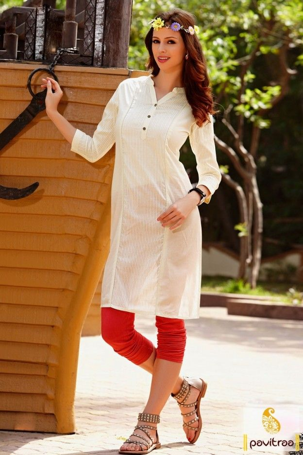 677c1ede49 Extremely graceful looking off white cotton daily wear plain kurti online  shopping with prices. This off white color plain office wear kurti great  for young ...