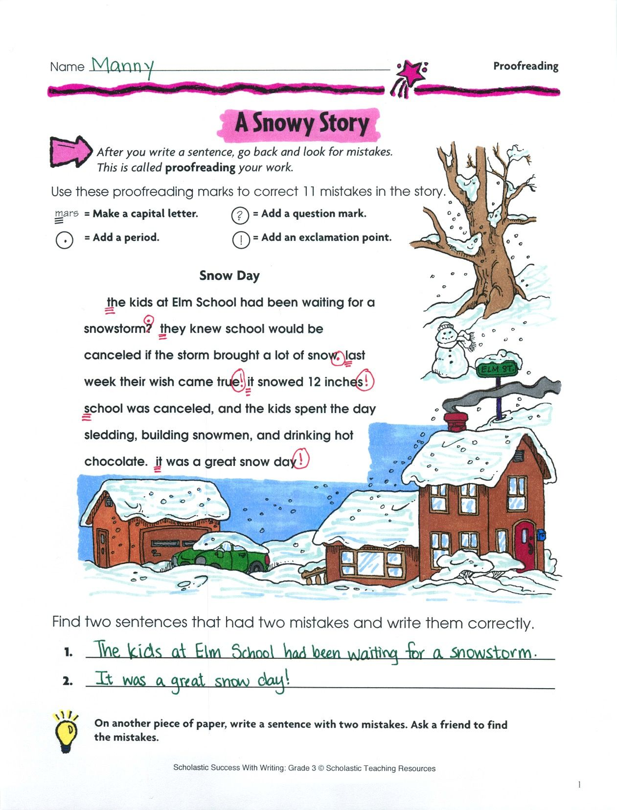 small resolution of Students put their proofreader's caps on to find 11 mistakes in this  wonderful story about the perfect snow day. L.2.1; L…   Story