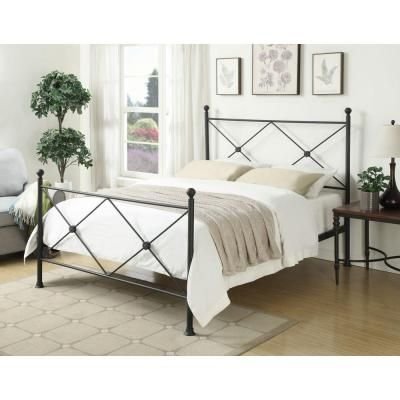 PRI All-In-1 Metal Queen-Size X Headboard and Bed Frame in Black-DS-2643-290 - The Home Depot