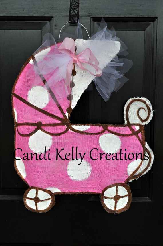 Baby+Carriage+Burlap+Door+Hanger+by+CandisSweetCreations+on+Etsy,+$35.00