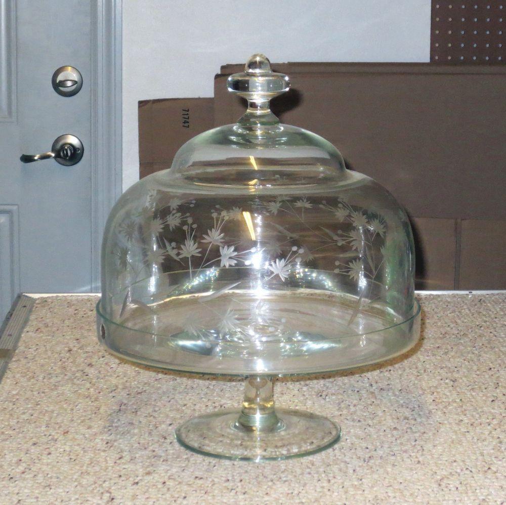 Elegant vintage etched floral glass dome pedestal 14 12