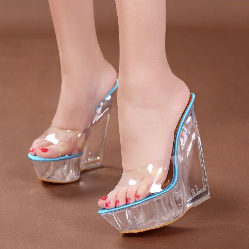 Women Spring Summer Transparent Slippers High Heel Wedges Platform Sandals Shoes Elegant Dressy