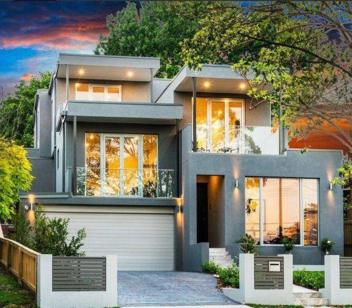 Jolie maison de luxe avec grandes fenetres le minimalisme en architecture