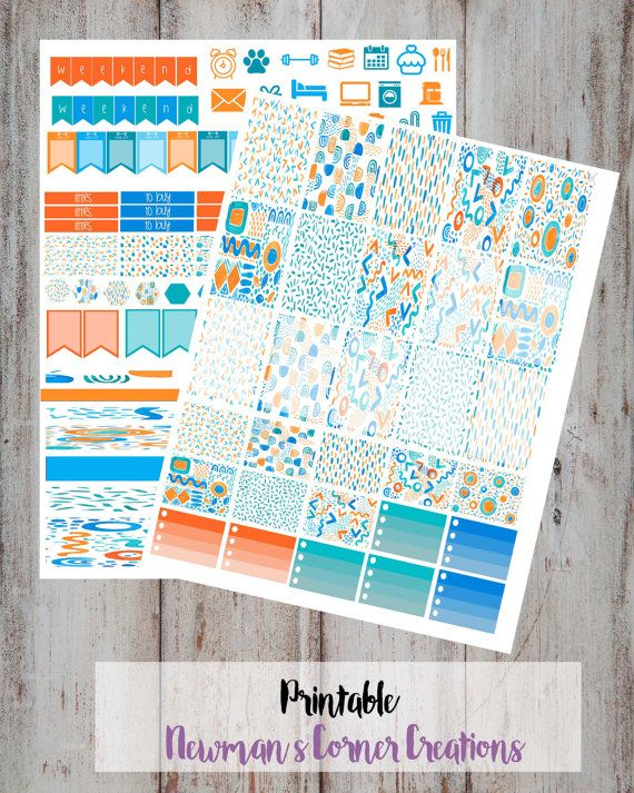 ae37cca88ad2 Printable Planner Stickers Catch the Wave by NewmansCornerCreatio ...