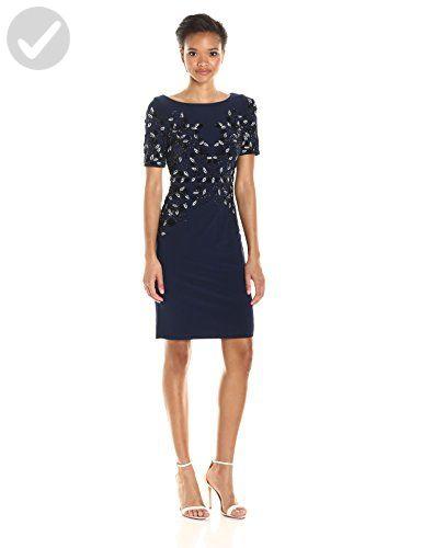 63dc666d927 Adrianna Papell Women s Short Sleeve Jersey Beaded Cocktail Dress ...