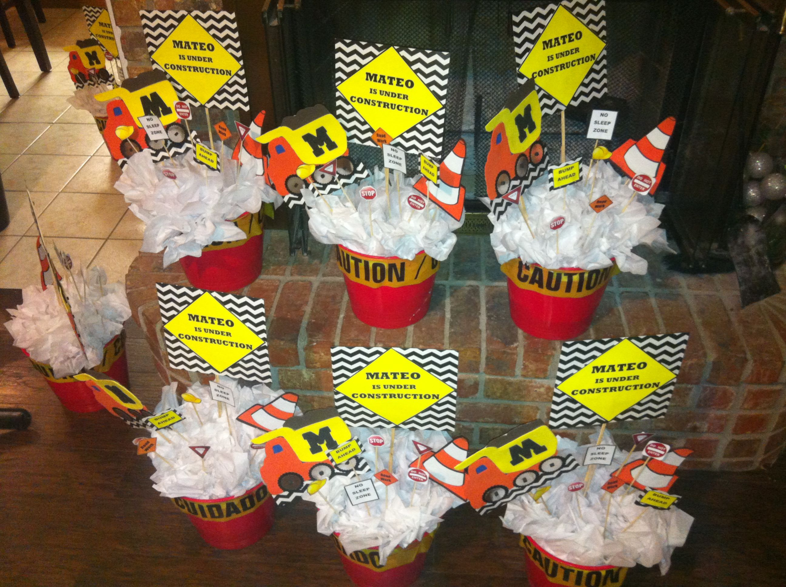 Centerpieces For Under Construction Baby Shower We Bought Buckets From The Dollar Tree