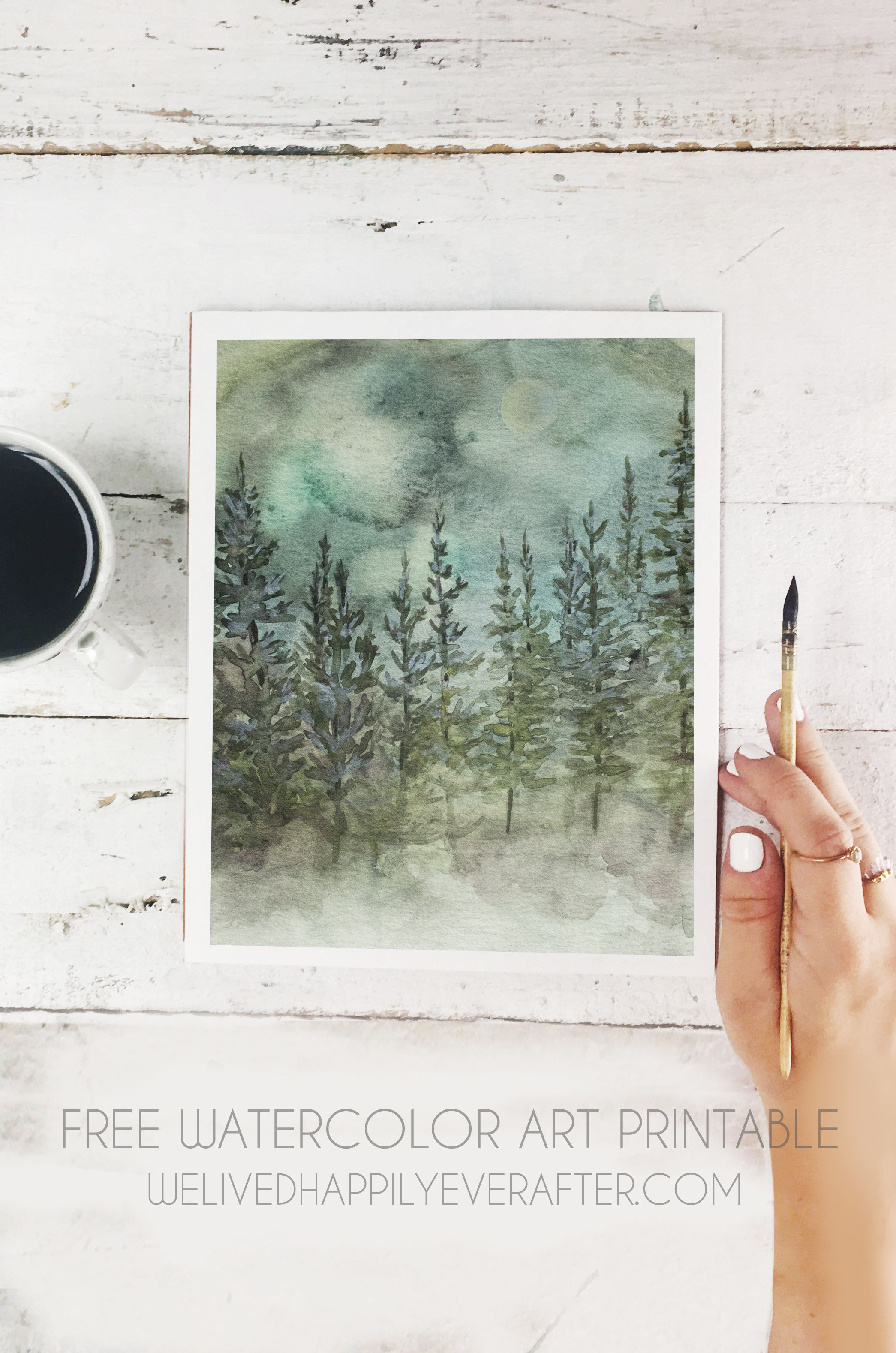 Photo of Free Watercolor Mountain Pine Tree Forest Scenery Printable | We Lived Happily Ever After