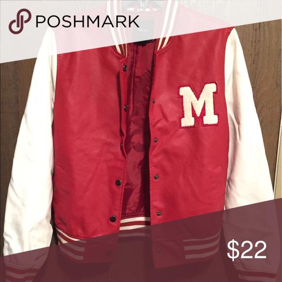 Varsity Jacket Red Leather Varsity Jacket with a white M on
