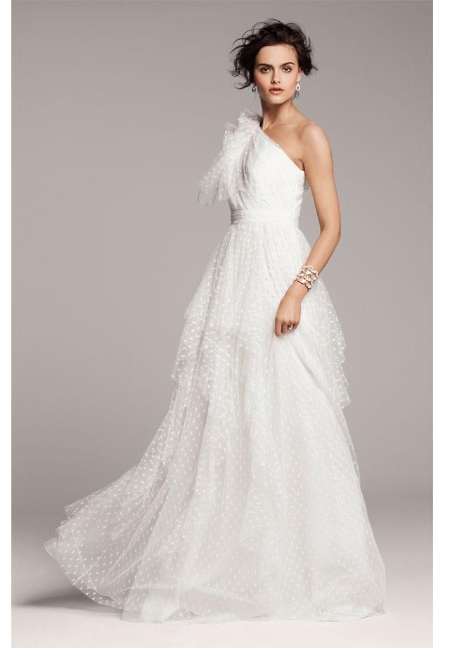 One Shoulder Swiss Dot Wedding Dress by Carmen Marc Valvo - perfect ...